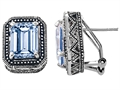 Original Star K™ Bali Style Emerald Cut Simulated Aquamarine Earrings