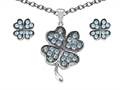 Celtic Love by Kelly Simulated Aquamarine Lucky Clover Pendant with matching earrings