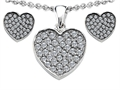 Original Star K™ Cubic Zirconia Heart Shape Love Pendant with matching earrings