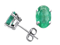 Tommaso Design™ Oval 7x5mm Genuine Emerald Earring Studs