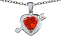 Star K™ Heart with Arrow Love Pendant Necklace with Simulated Orange Mexican Fire Opal