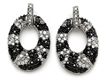 Original Star K Round Black and White Cubic Zirconia Oval Shape Earrings