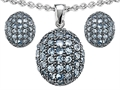 Original Star K™ Simulated Aquamarine Oval Puffed Pendant with matching earrings