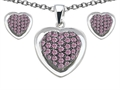 Original Star K™ Created Pink Sapphire Heart Shape Love Pendant Box Set with matching earrings