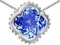 Star K™ Large Clover Pendant Necklace with 12mm Clover Cut Simulated Aquamarine