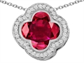 Original Star K™ Large Clover Pendant with 12mm Clover Cut Created Ruby