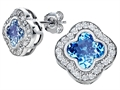 Star K™ Clover Earrings Studs with 8mm Clover Cut Simulated Blue Topaz