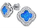 Original Star K™ Clover Earring Studs with 8mm Clover Cut Created Blue Opal