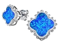 Star K™ Clover Earrings Studs with 8mm Clover Cut Blue Created Opal