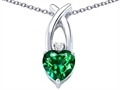 Star K™ 8mm Heart Shape Simulated Emerald Cross Heart Pendant Necklace