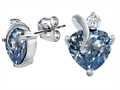 Original Star K™ 8mm Heart Shape Simulated Aquamarine Heart Earrings