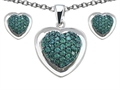 Original Star K™ Simulated Emerald Heart Shape Love Pendant with matching earrings