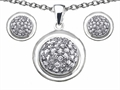 Original Star K Cubic Zirconia Round Puffed Pendant Box Set with matching earrings