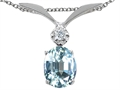 Tommaso Design™ Oval 8x6mm Simulated Aquamarine and Diamond Pendant