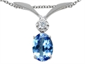 Tommaso Design™ Oval 7x5mm Genuine Tanzanite and Diamond Pendant