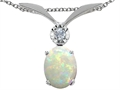 Tommaso Design™ Oval 8x6mm Genuine Opal and Diamond Pendant