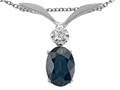 Tommaso Design™ Genuine Sapphire Oval 7x5mm and Diamond Pendant
