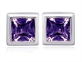 Original Star K™ 7mm Square Cut Simulated Alexandrite Earrings Studs