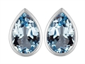 Original Star K 9x6mm Pear Shape Simulated Aquamarine Earring Studs
