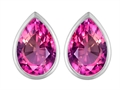 Original Star K 9x6mm Pear Shape Created Pink Sapphire Earring Studs