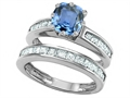 Original Star K™ Cushion Cut 7mm Simulated Aquamarine Engagement Wedding Set