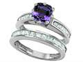 Original Star K™ Cushion Cut 7mm Simulated Alexandrite Wedding Set