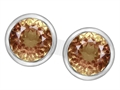 Original Star K™ 7mm Round Simulated Imperial Yellow Topaz Earrings Studs