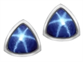 Original Star K 7mm Trillion Cut Created Star Sapphire Earring Studs