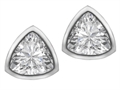 Original Star K 7mm Trillion Cut Genuine White Topaz Earring Studs