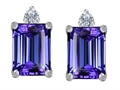 Original Star K™ 8x6mm Emerald Octagon Cut Simulated Tanzanite Earrings Studs