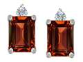 Original Star K 8x6mm Emerald Octagon Cut Genuine Garnet Earring Studs