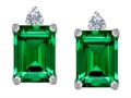 Original Star K 8x6mm Emerald Octagon Cut Simulated Emerald Earring Studs