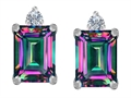 Original Star K 8x6mm Emerald Octagon Cut Rainbow Mystic Topaz Earring Studs
