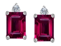 Original Star K 8x6mm Emerald Octagon Cut Created Ruby Earring Studs