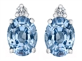 Original Star K™ 8x6mm Oval Simulated Aquamarine Earring Studs