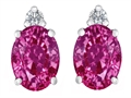Original Star K™ 8x6mm Oval Created Pink Sapphire Earring Studs