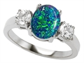 Original Star K™ 9x7mm Oval Created Blue Opal Engagement Ring