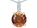 Star K™ Large 12mm Round Simulated Imperial Yellow Topaz Pendant Necklace