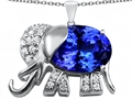 Original Star K™ Large 12x10mm Oval Simulated Tanzanite Good Luck Elephant Pendant
