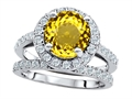 Original Star K™ 8mm Round Simulated Citrine Engagement Wedding Set