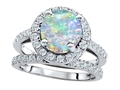 Original Star K 8mm Round Created Opal Engagement Wedding Set