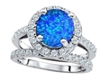 Original Star K™ 8mm Round Simulated Blue Opal Engagement Wedding Set