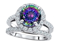 Original Star K 8mm Round Rainbow Mystic Topaz Engagement Wedding Set