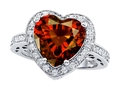 Original Star K Large 10mm Heart Shape Simulated Garnet Engagement Wedding Ring
