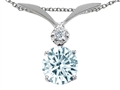 Tommaso Design™ Round 7mm Simulated Aquamarine and Diamond Pendant