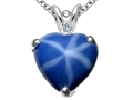 Tommaso Design™ 8mm Heart Shape Created Star Sapphire and Genuine Diamond Heart Pendant