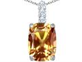 Original Star K™ Large 14x10mm Cushion Cut Simulated Imperial Yellow Topaz Pendant