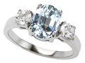 Original Star K 9x7mm Oval Simulated Aquamarine Engagement Ring
