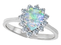 Original Star K 8x6mm Pear Shape Created Opal Engagement Ring