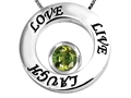 Original Star K™ Live/Love/Laugh Circle of Life Pendant with Round 7mm Simulated Green Tourmaline